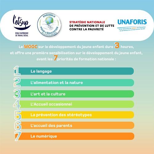 """Les 7 priorités de formation nationale du MOOC Petite enfance """"Parle-moi...!"""""""