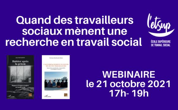 Affiche webinaire Recherche travail social 21 octobre 2021